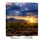 A Sonoran Desert Sunrise Shower Curtain