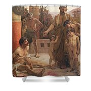 A Spartan Points Out A Drunken Slave To His Sons Shower Curtain