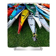 A Stack Of Kayaks Shower Curtain