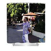 A Street Entertainer In The Hollywood Section Of The Universal Studios Shower Curtain