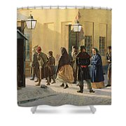 A Street Scene, Outside A Prison, 1868 Oil On Canvas Shower Curtain