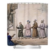 A String Of Blind Beggars, Cabul, 1843 Shower Curtain