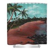 A Stroll On A Tropical Beach Shower Curtain
