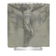 A Study Of Christ On The Cross With Two Shower Curtain
