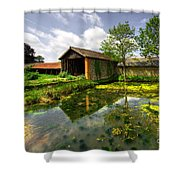 a Suffolk Barn Shower Curtain