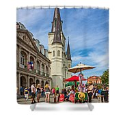 A Sunny Afternoon In Jackson Square Oil Shower Curtain by Steve Harrington