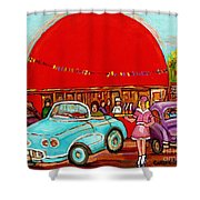 A Sunny Day At The Big Oj- Paintings Of Orange Julep-server On Roller Blades-carole Spandau Shower Curtain