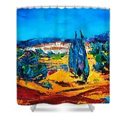 A Sunny Day In Provence Shower Curtain by Elise Palmigiani