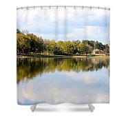 A Sunny Day's Reflections At The Lake House Shower Curtain