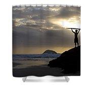 A Surfer On Muriwai Beach New Zealand Shower Curtain