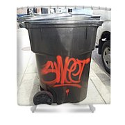 A Sweet Garbage Can. Shower Curtain