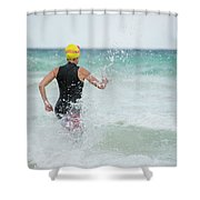 A Swimmer Running To The Ocean Shower Curtain