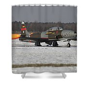 A T-33 Shooting Star Trainer Jet Shower Curtain
