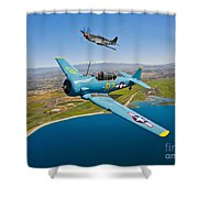 A T-6 Texan And P-51d Mustang In Flight Shower Curtain