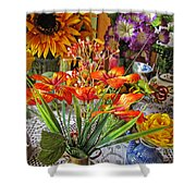 A Table Of Flowers Shower Curtain