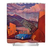 A Teal Truck In Taos Shower Curtain