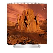A Team Of Explorers From Earth Shower Curtain