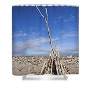 A Teepee Madeup Of Driftwood At Bandon Beach Shower Curtain
