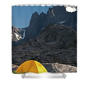 A Tent Is Dwarfed By The High Peaks Shower Curtain
