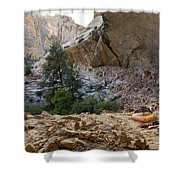 A Tent Pitched In A Large Alcove Shower Curtain