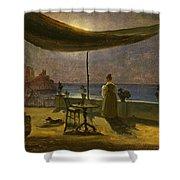 A Terrace In Amalfi In Moonlight Shower Curtain