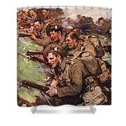 A Thrilling Charge, Illustration Shower Curtain