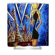 A Toast To The Little Black Dress By Madart Shower Curtain