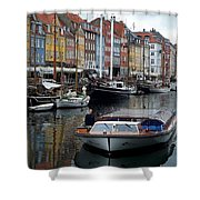 A Tour Boat At Nyhavn Shower Curtain
