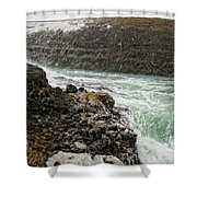 A Tourist Takes A Photo At Gullfoss Shower Curtain