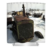 A Tractor In The Snow Shower Curtain