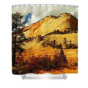 A Tree And Orange Hill Shower Curtain