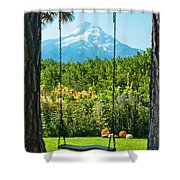 A Tree Swing Is Seen On A Summer Day Shower Curtain