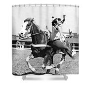 A Trickriding Cowgirl Shower Curtain