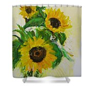A Trio Of Sunflowers Shower Curtain