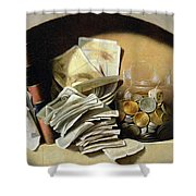 A Trompe Loeil Of Paper Money Coins Shower Curtain by French School