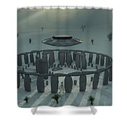 A Ufo & Its Alien Crew Visiting Shower Curtain