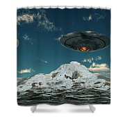 A Ufo Flying Over A Mountain Range Shower Curtain
