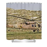 A Uh-60l Yanshuf Helicopter Shower Curtain