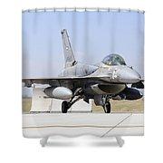 A United Arab Emirates Air Force F-16e Shower Curtain