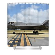 A U.s. Air Force F-35a Taxiing At Eglin Shower Curtain