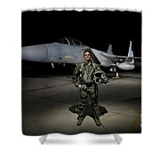 A U.s. Air Force Pilot Stands In Front Shower Curtain by Terry Moore