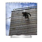 A U.s. Soldier Runs Down A 40-foot Shower Curtain