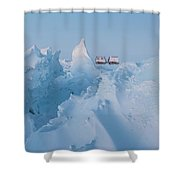 A Usap Hagglunds Vehicle Drives Shower Curtain
