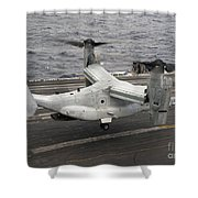 A V-22 Osprey Lands Aboard The Aircraft Shower Curtain