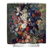 A Vase Of Flowers With Fruit Shower Curtain