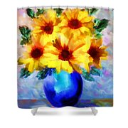 A Vase Of Sunflowers Shower Curtain by Valerie Anne Kelly