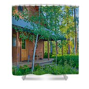 A View Of A Cottage With Aspen Trees Shower Curtain
