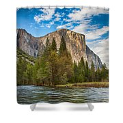 A View Of El Capitan From The Merced River Shower Curtain