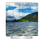 A View Of Urquhart Castle From Loch Ness Shower Curtain