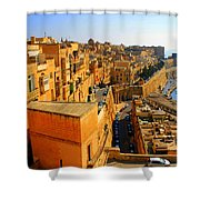 A View Of Valletta's Waterfront Shower Curtain